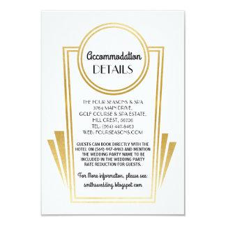 Art Deco Accommodation Wedding Cards Gold White