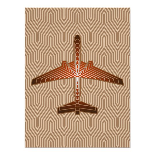 Art Deco Aeroplane, Bronze, Gold and Rust Brown