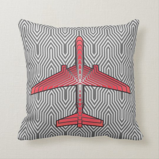 Art Deco Aeroplane, Coral Orange and Silver Grey