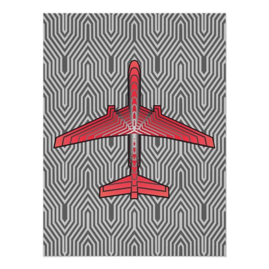 Art Deco Aeroplane, Coral Orange and Silver Grey