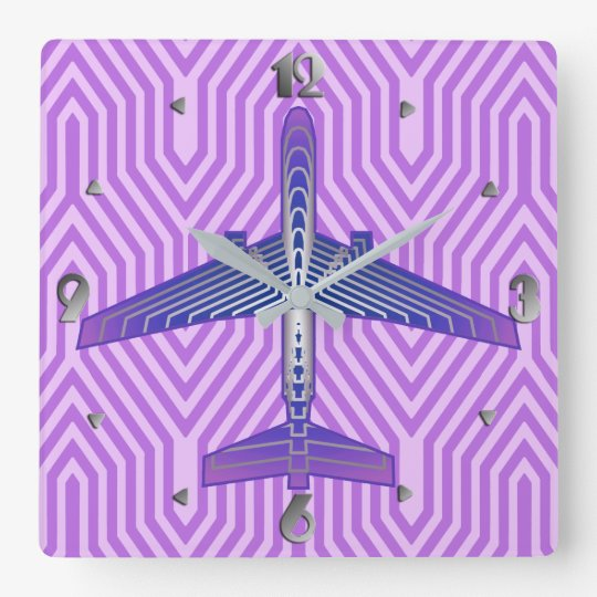 Art Deco Aeroplane, Violet Purple and Silver Grey