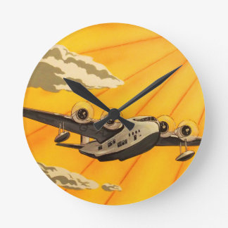 art deco aeroplane wall clock
