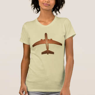 Art Deco Airplane, Bronze, Gold and Rust Brown T-Shirt