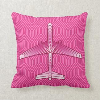 Art Deco Airplane, Fuchsia and Pastel Pink Cushion