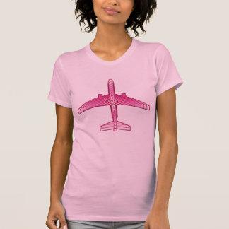 Art Deco Airplane, Fuchsia and Pastel Pink T-Shirt