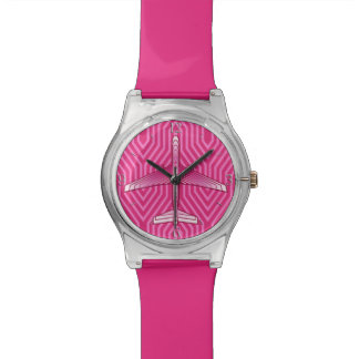 Art Deco Airplane, Fuchsia and Pastel Pink Wristwatch