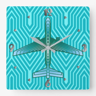 Art Deco Airplane, Turquoise, Teal and Aqua Square Wall Clock