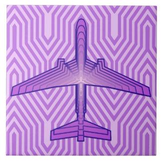 Art Deco Airplane, Violet Purple and Lavender Tile