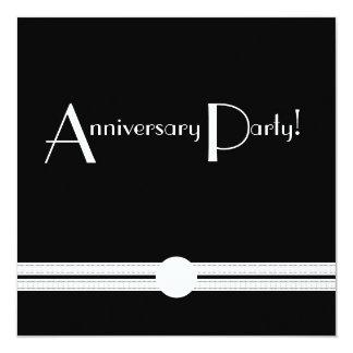 Art Deco Anniversary Black and White Retro 13 Cm X 13 Cm Square Invitation Card