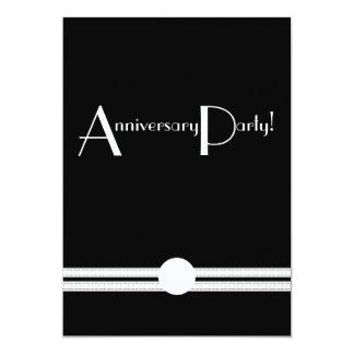 """Art Deco Anniversary Invite in Black and White 5"""" X 7"""" Invitation Card"""