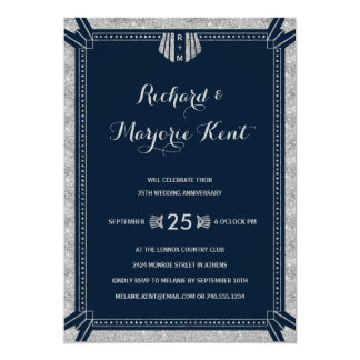 Art Deco Anniversary Party Silver and Navy Blue 13 Cm X 18 Cm Invitation Card