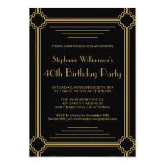 Art Deco Any Age Birthday Party Card