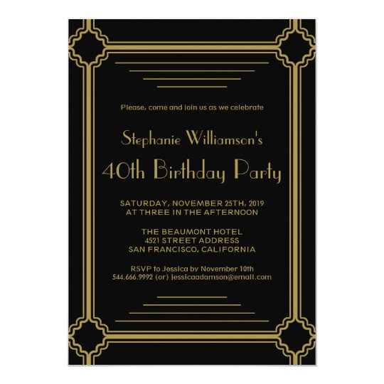 Art Deco Any Age Birthday Party Card