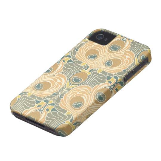 art deco art nouveau peacock pattern art iPhone 4 Case-Mate cases