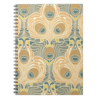art deco art nouveau peacock pattern art notebooks