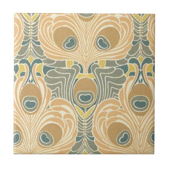 art deco art nouveau peacock pattern art small square tile
