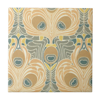 art deco art nouveau peacock pattern art tile