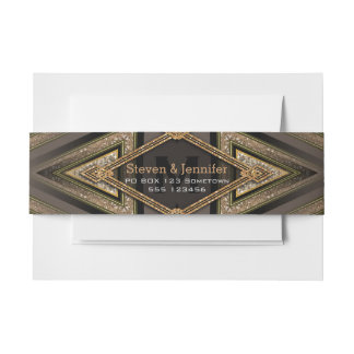 Art Deco Aztec Earth Belly Bands Invitation Belly Band