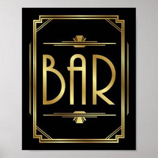 Art Deco BAR Sign Print