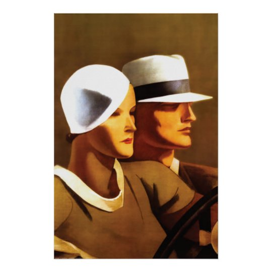 Art Deco Beautiful Couple Driving Poster