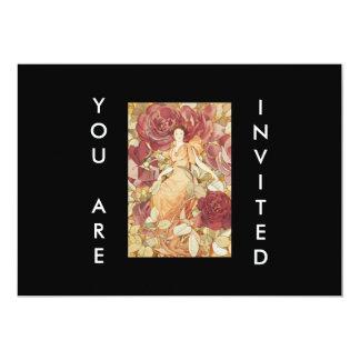 Art Deco Beautiful Woman in Roses Custom Invitation