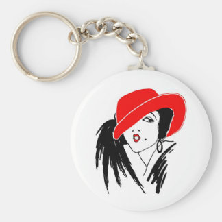 Art Deco Beautiful Woman Red Hat Basic Round Button Key Ring