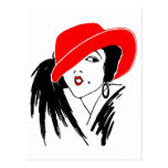 Art Deco Beautiful Woman Red Hat Postcard