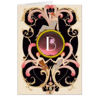 ART DECO BEAUTY FASHION PINK GEM MONOGRAM Birthday Card