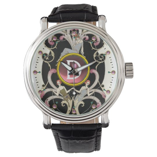 ART DECO BEAUTY FASHION PINK GEMSTONE MONOGRAM WATCH