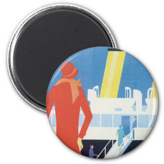 Art Deco Belgian Ferry Poster Magnet