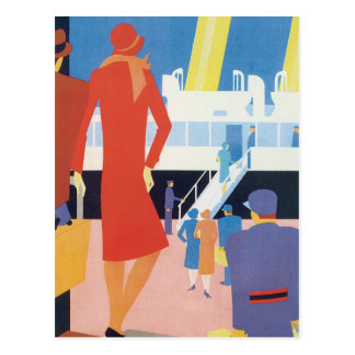 Art Deco Belgian Ferry Poster Postcard