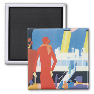 Art Deco Belgian Ferry Poster Square Magnet