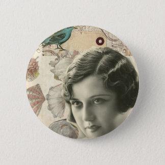 Art deco bird scripts seashells great gatsby girl 6 cm round badge