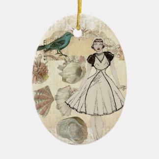 Art deco bird scripts seashells great gatsby girl ceramic oval decoration