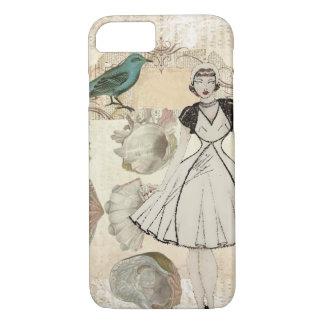 Art deco bird scripts seashells great gatsby girl iPhone 7 case