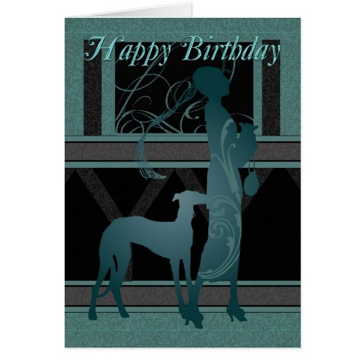 Art Deco Birthday Card With Female And Dog