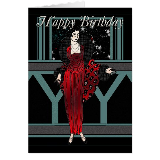 Art Deco Birthday Card With Female In Red