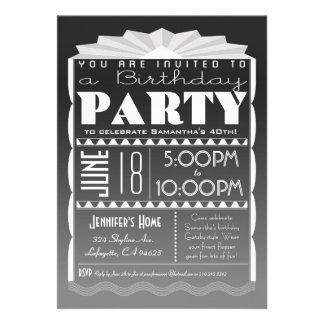Art Deco Birthday Invitation - Gatsby Style Grey