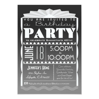 Art Deco Birthday Invitation - Gatsby Style Grey