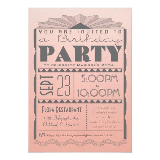 Art Deco Birthday Invitation - Gatsby Style Ombre