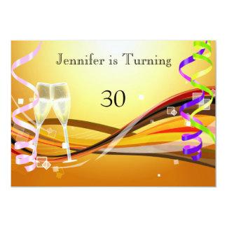 """Art Deco Birthday Invitation Gold color 5"""" X 7"""" Invitation Card"""