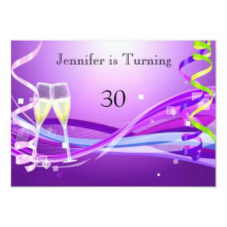 """Art Deco Birthday Invitation Purple color 5"""" X 7"""" Invitation Card"""