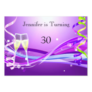 Art Deco Birthday Invitation Purple color