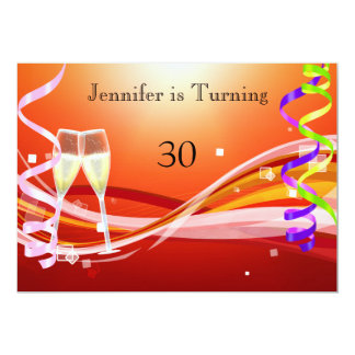 "Art Deco Birthday Invitation Sunburnt color 5"" X 7"" Invitation Card"
