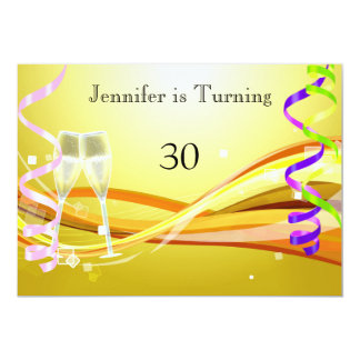 """Art Deco Birthday Invitation Sunny color 5"""" X 7"""" Invitation Card"""
