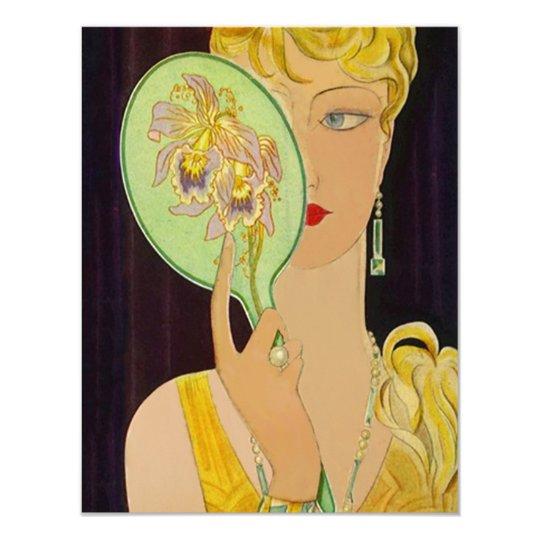 Art Deco Birthday Invitations Mirror Reflecting