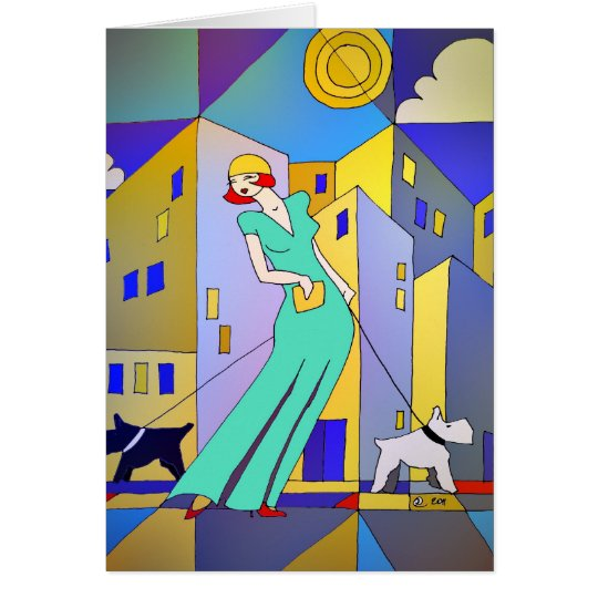 Art Deco birthday/note/greetings folded card