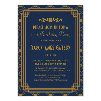Art Deco Birthday Party Invitations