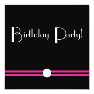 Art Deco Birthday Pary in Black  White Pink 13 Cm X 13 Cm Square Invitation Card