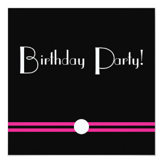 Art Deco Birthday Pary in Black  White Pink Invitation